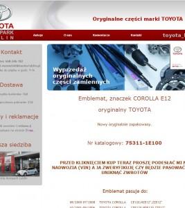 Wykonanie szablonu Allegro dla firmy Toyota Auto Park Lublin